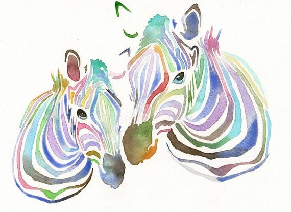 RESERVED FOR LAURE Original watercolor Painting - Colourful Zebras Rainbow Colors