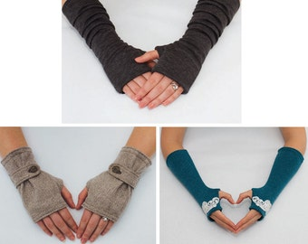 3 Fingerless Gloves Patterns. PDF Glove Sewing Patterns - combo pack.