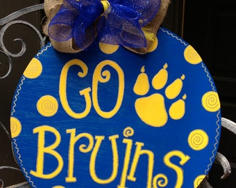 "Wooden, Hand Painted, ""Go Bruins"" Door Decoration"