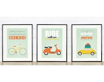 Retro poster, A2 set, bike, vespa scooter, vw beetle, mid-century design, Scandinavian design, print, inspirational vintage poster