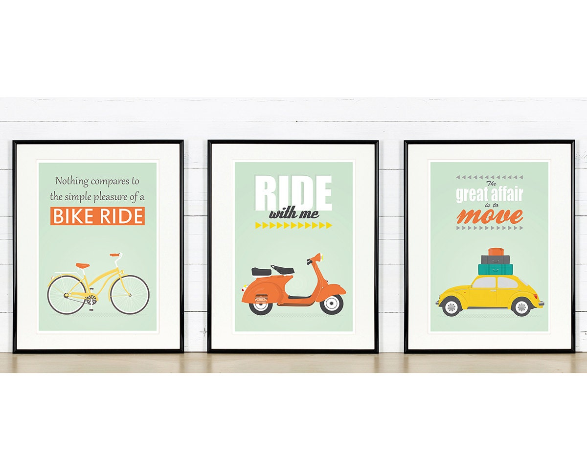 retro poster a2 set bike vespa scooter vw beetle. Black Bedroom Furniture Sets. Home Design Ideas