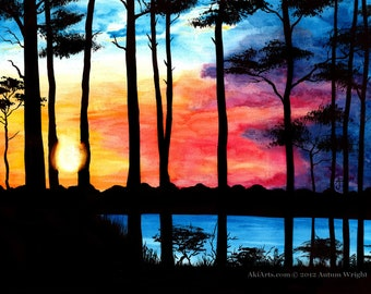 "Ink and watercolour art ""Sunset"""