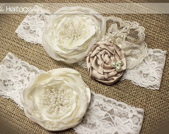Wedding Garter - Garter -  Champagne Garter -  Ivory Lace Garter - Vintage Garter - Wedding - Bride - Toss Garter - Wedding Gift - Lace