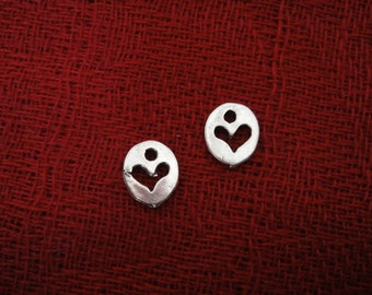 925 sterling silver oxidized  heart charm,pendant 1pc.