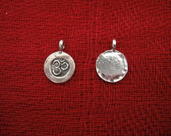925 sterling silver (oxidized) om charm or pendant 1pc.