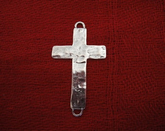 925 sterling silver oxidized hammered sideways cross connector charm