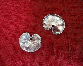 925 sterling silver oxidized  leaf charm, lotus charm pendant 1pc.