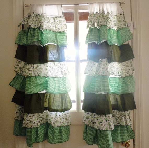 RESERVED Green Ruffle Kitchen Curtains By Meticulousmess