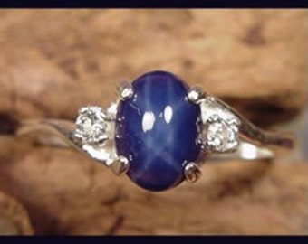 Blue Star-Created Star Sapphire Tpz Ring sz 6, 7,  8 Handmade in Vermont sterl silver