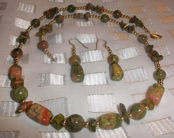 "21"" Unakite Stone Necklace and Earring"