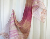 Silk scarf drip fade dye with antique lace stamping.