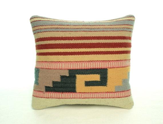 Zapotec Throw Pillows : Authentic Handwoven Zapotec Throw Pillow Colorful Stripes