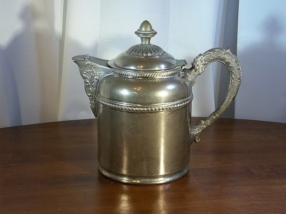 Vintage Rochester Stamping Works Silver over Copper and Pewter Teapot- Tea Kettle- Antique Tea Pot- Collectible- Kitchenwares