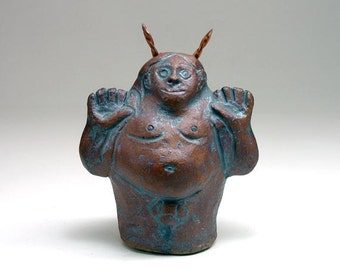 Pottery Clay Rattle, Sculpted Stoneware Horned One God Pan Altar Shaker Sculpture
