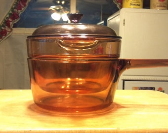 CORNING VISIONS amber 1.5 liter double broiler