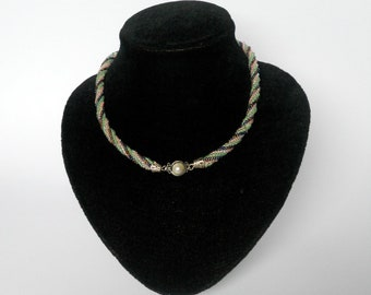 bead woven jewelry spiral necklace multicolor  seed bead necklace
