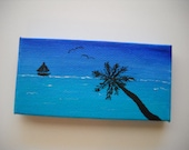 "Original Hand Painted 2x4 inch Mini Canvas Magnet - ""Sailing Away"""