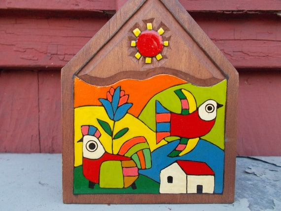 Set Of Two Salvadoran Folk Art El Salvador Wood Plaques