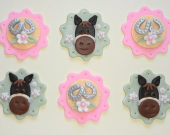 12 Edible Fondant Pony Horse Equestrian Cupcake Toppers