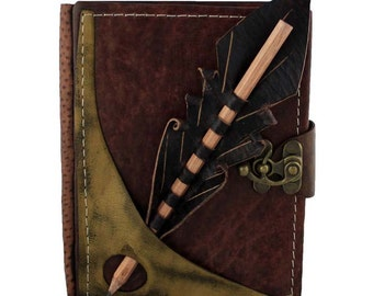 Pencil Holding Section On A Brown Leather Journal / Notebook / Diary / Sketchbook / Leatherbound