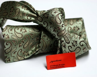 Silk Tie in Paisleys with Green and Brown