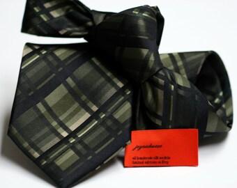 Silk Tie in Checks with Green, Black