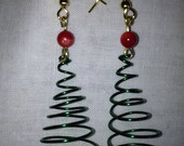 Green Spiral Christmas Tree Earrings, Gold-Plated French Hook, Choose Round or Star Accent Bead