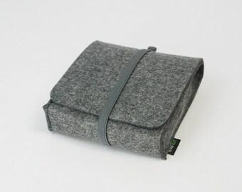 Felt Black or Grey Storage Case Storage Bag Storage Pouch Organizer Wallet Arrange Bag Case with Elastic Strip E1145