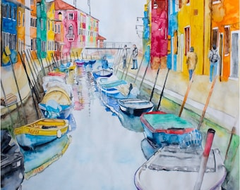 SALE 20% OFF Original Watercolor Painting - Colored houses. Mediterranean landscape of boats and houses.