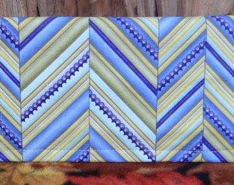 Checkbook Cover in Yellow and Purple Zig-zag Pattern