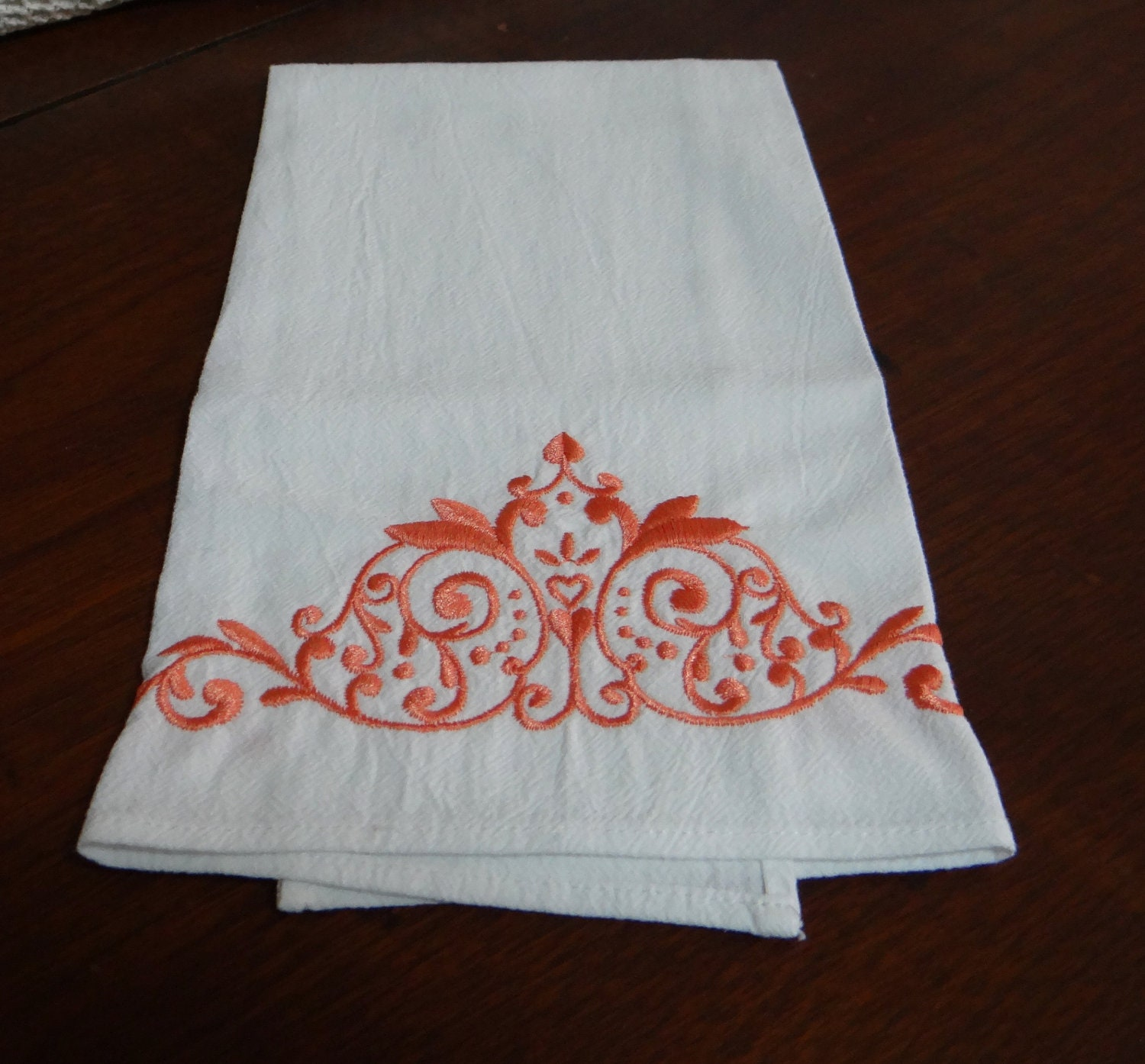 Embroidered Flour Sack Dish Towel Apricot By