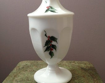 Painted Milkglass Covered Candy Dish