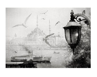 wall decor - photography, Black and White, istanbul photography Winter Snow Landscape photography  grey decor Collage  10x15 inch