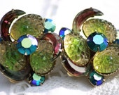 Vintage 1950 - 1960s Clip-on Earrings Iridescent Rainbow Glass Beads & Crystals