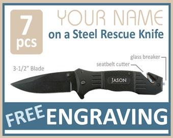 7 Groomsmen Gifts PERSONALIZED Knife Engraved Knife Engraved Pocket Knife Hunting Knife Rescue Knife Custom Groomsman Gifts Gift for Men