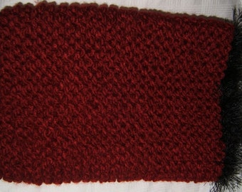 Maroon Knitted Neck Buff/Scarf