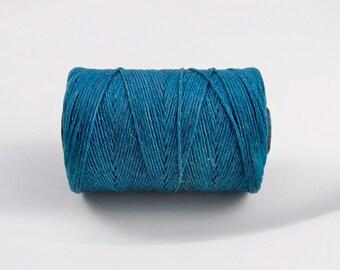 Teal Irish waxed linen cord 4ply (10 yards) - irish waxed linen cord, irish waxed linen thread turquoise irish linen, uk irish linen cord