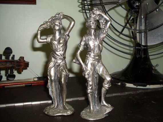 Vintage Pewter Peltro Italy, Cesellato A Mano, Man and Women Carrying Flowers and Grapes, Art Deco, Home Decor, Bareware