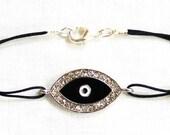 Black Crystal Evil Eye Bracelet