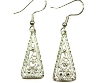 Sterling Silver Celtic Scandinavian Filigree Triangle Earrings