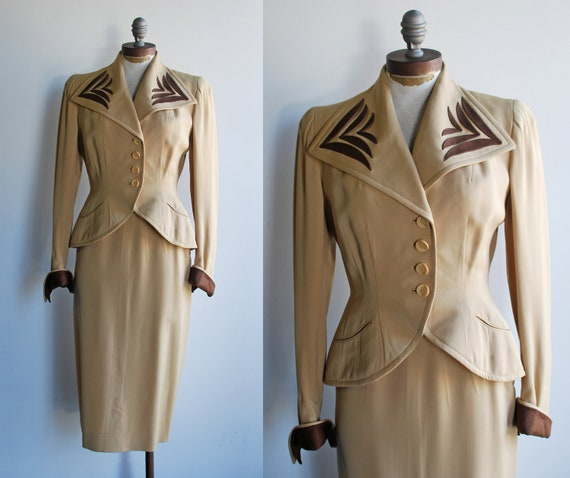 Incredible Women's 1940's Tan and Brown Suit with Oversized Collar Abstract Detail Shoulder Pads and Peplum Waist