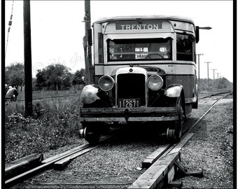 Antique Delaware Valley Print - Vintage Bus Becomes Light Rail - Trenton New Jersey