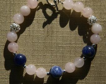 Rose Quartz bracelet with Sodalite Accent Beads