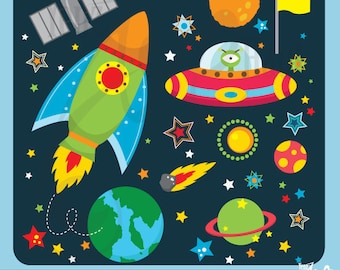 "Outer space clipart:""OUTER SPACE""clip art pack instant download Os002 spaceship,planets,rockets,stars for scrapbooking,card making,invites"