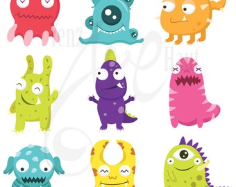 Cute Litter Monsters Clip art Set Lcm001 Personal and Commercial Use, cards, invitations, scrapbooking and all paper crafts.