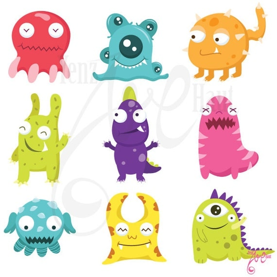 Cute Litter Monsters Clip Art Set Lcm001 Personal And