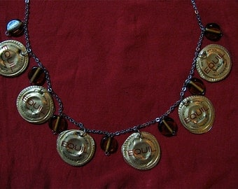 Recycled golden bottle cap necklace,Chain and bottle cap necklace,Upcycled bottle cap necklace