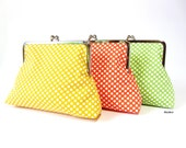 Cosmeticbag clipbag toilet bag pouch Sorbet Yellow Orange Green Dots - filzzundco