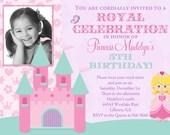Pretty Princess Photo Birthday Invitation - Printable - Any hair color