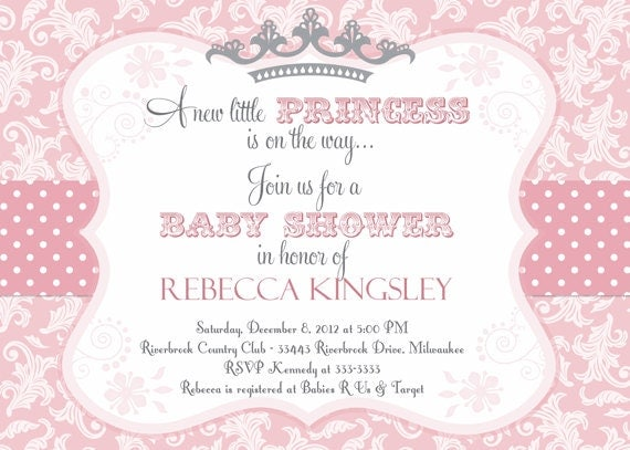 Pink Damask Princess Baby Shower Invitation by PartyPopInvites